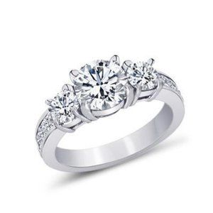 2.11 ct. 3-stone style Round & princess diamond en